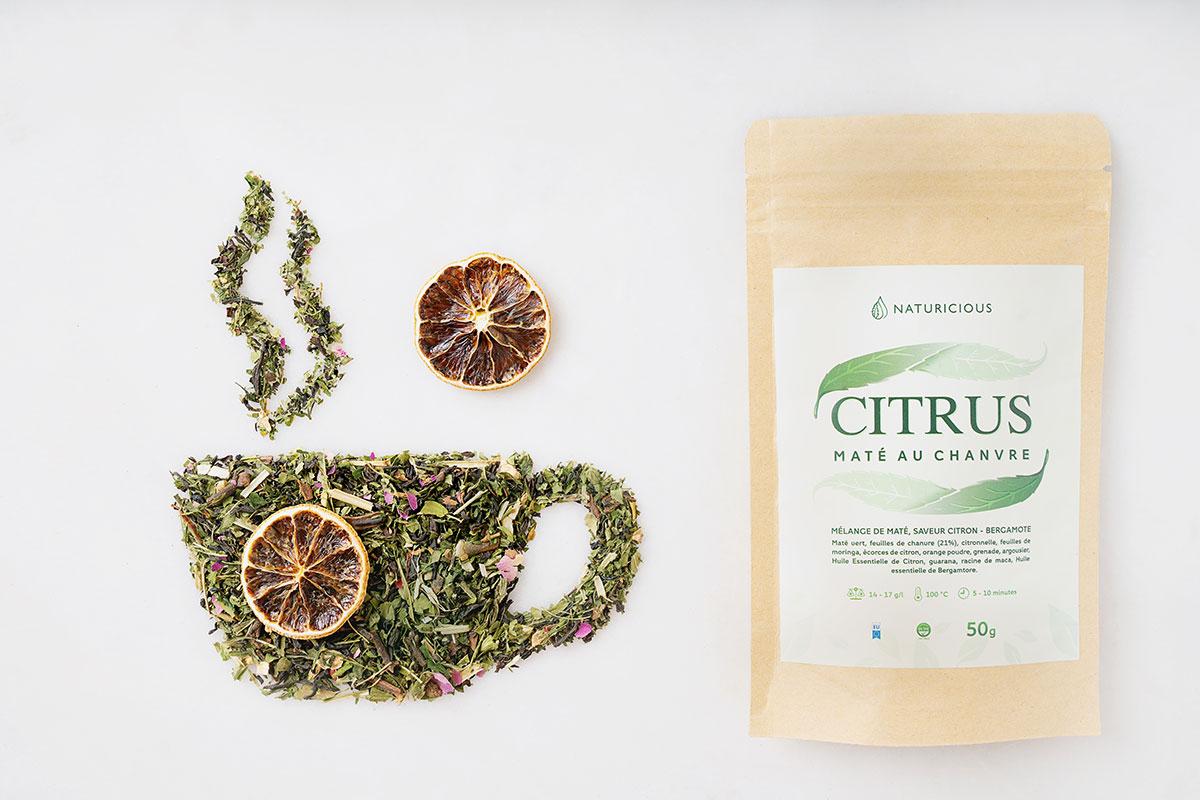 chá de citrino verde mate com CBD